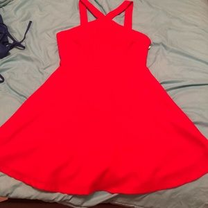 Bright Red fit and flare dress.